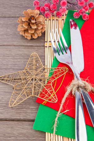 silver cutlery: Christmas table setting, silver cutlery and winter decoration Stock Photo