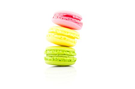 refined: Macaroon, refined tasty dessert on white, food photo