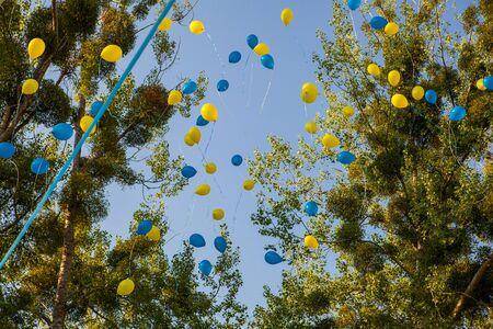 outdoor photo: Air balloon again blue sky, outdoor photo background