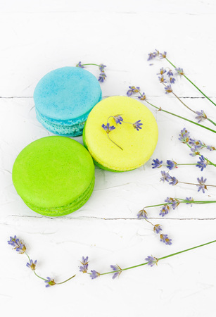 Macaroon with lavander, refined tasty dessert and flowers, food photo Stock Photo
