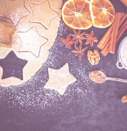 Homemade baking cookies, stylish food photo on black for gastronomic magazine