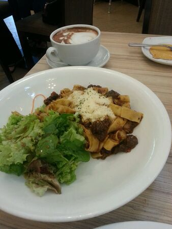 Lamb ragu pasta and coffee