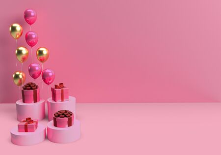 Rendu 3D d'une boîte-cadeau et de ballons flottants, fond noir rose, espace de copie de concept minimal pour la Saint-Valentin, célébration, anniversaire, anniversaire et promotion Banque d'images