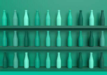 3d rendering of bottle set in shelf store on soft green background, 3d mockup minimal concept for business