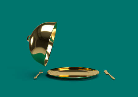 3d rendering of gold Restaurant cloche with open lid on blue background