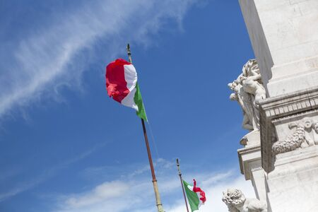 altar of fatherland: italian flag on the altar of the fatherland in rome