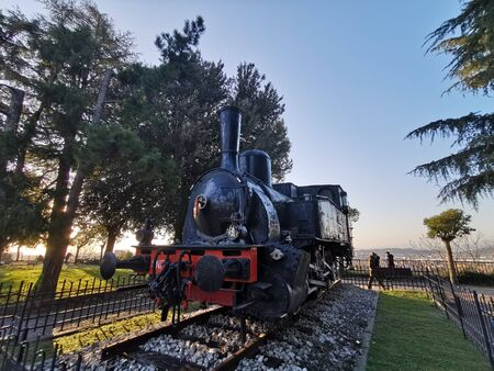 brescia castle park ancient coal locomotive train