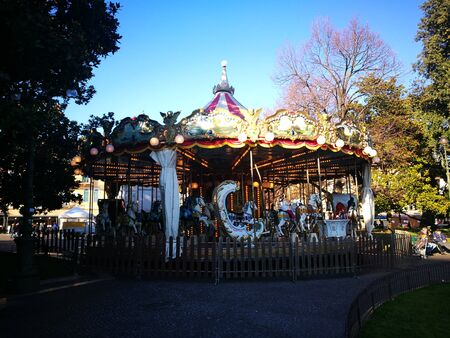 carousel in verona central plaza, christmas time