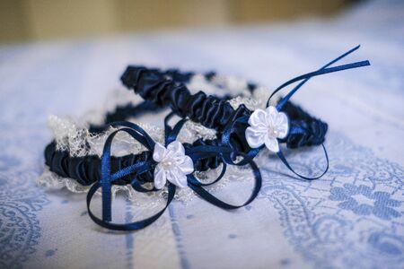 wedding garter for white and blue bride