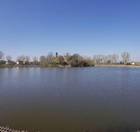 reggio emilia vasca of corbelli lake villa trees fishing