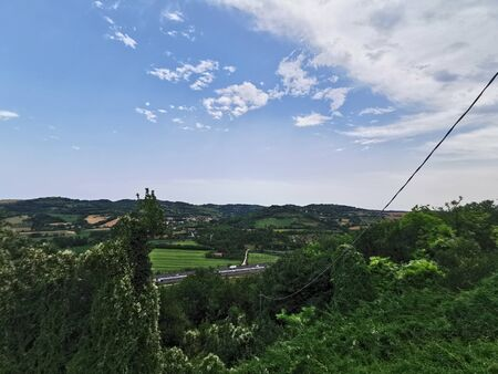 panorma of the green hills near the adda river