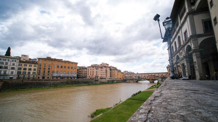 Landscape with Ponte Vecchio and Arno RIver in Florence, Italy. High quality photo
