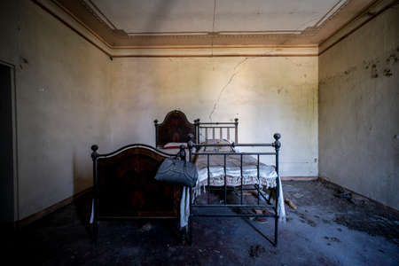 abandoned bedroom with old bedside table.high quality photo
