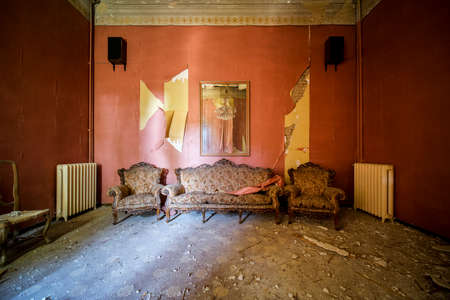 room with armchairs and sofa in abandoned house, high quality photo