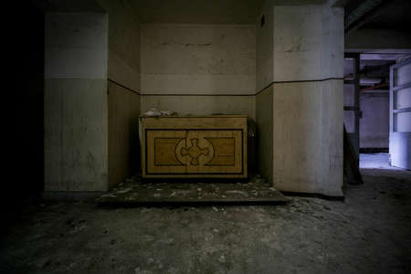 entrance hall with corridor and doors in abandoned luxury house. High quality photo