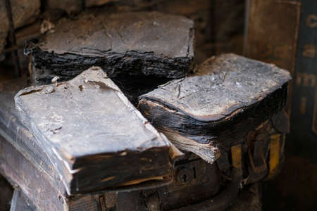 old burnt books recovered from a fire. High quality photo
