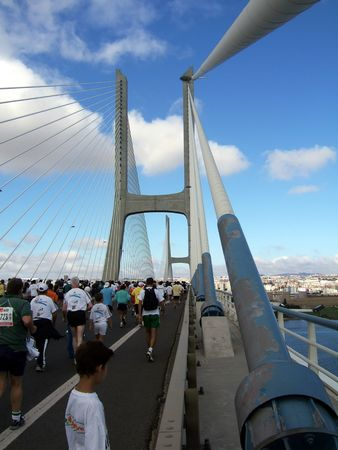running the marathon in Lisbon, Portugal