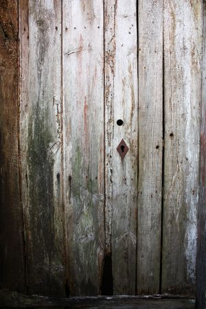 Very old wood door with a rusty keyhole