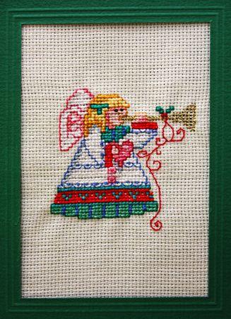 Cross stitch Christmas Card showing an angel photo
