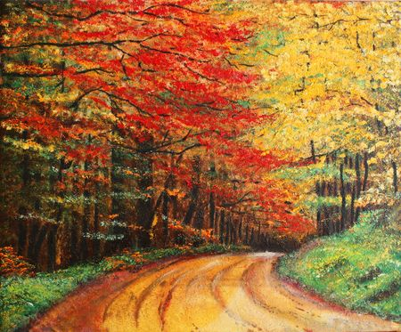 Colourfull original oil painting showing a road forest photo