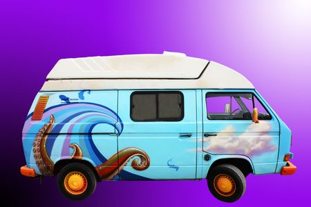 A retro blue van with ocean drawings on it 版權商用圖片