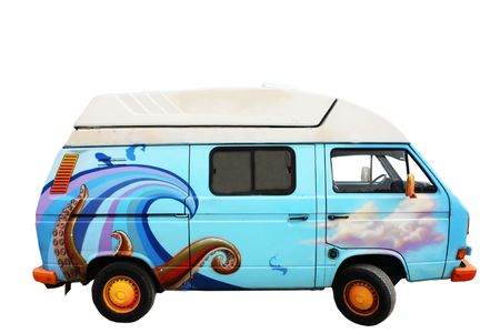 A retro blue van with ocean drawings on it Stock Photo