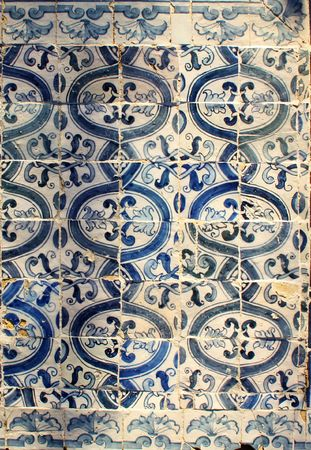 A beautiful ceramic tile pattern in blue and white photo