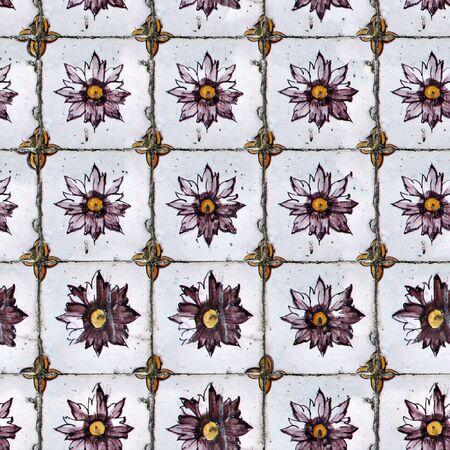 willekeurig: Naadloze tegel patroon van oude keramische tegels. Kunt u de grootte van een willekeurige afbeelding door verscheidene van deze afbeeldingen eenvoudig samen samenvoegen. Elke rand van deze afbeelding overeenkomt met de tegenoverliggende rand.