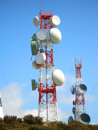 hertz: communication antena with an array of dishes Stock Photo