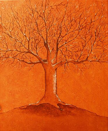 Colourfull original oil painting showing a tree photo