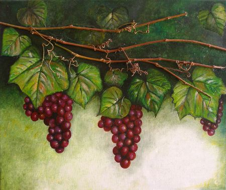 Colourfull original oil painting showing a grapevine