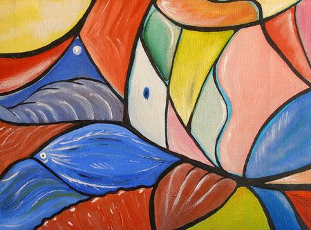 Colourfull original oil painting showing a geometric fish 版權商用圖片