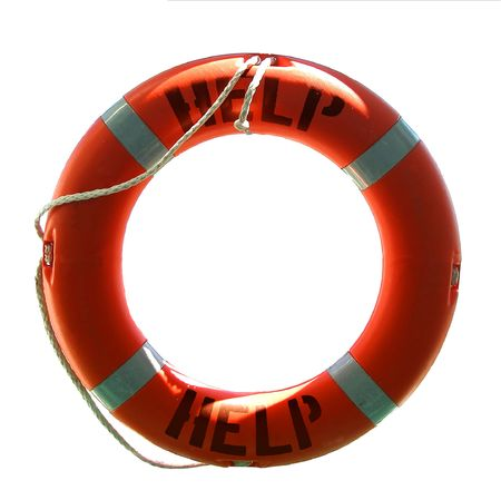 Life preserver with help word - isolated on white Stock Photo - 6361725