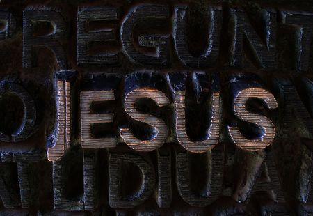 sagrada: Jesus written in metalic letters
