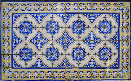 A beautiful abstract tile pattern in blue, yellow and white photo