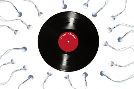 Earbud phones wriggling towards an old vinyl record. Concept representation of sperm cells fertilizing an ovule Stock Photo - 6559043