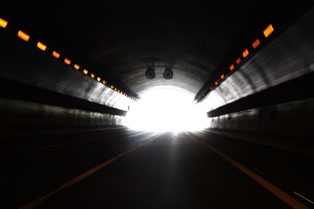 High speed tunnel. Exiting a tunnel at high speed. Stock Photo - 6650332
