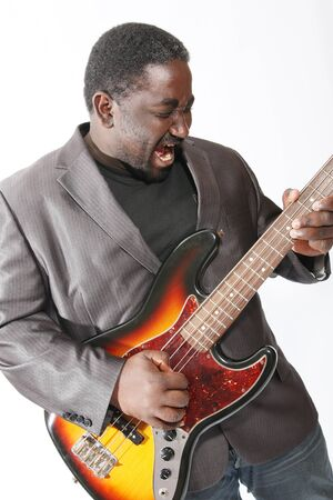 bass player: an american african bass player on white background