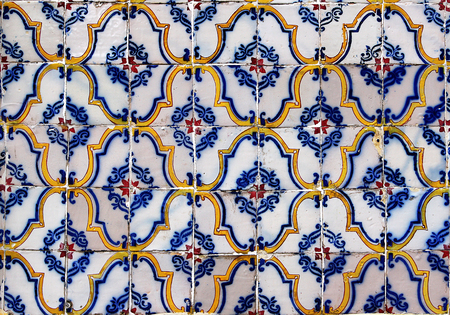 image size: Seamless tile pattern of anyique tiles  This is seamless pattern, meaning you can create an arbitrary image size by simply concatenating several of these images together  Each edge of this image matches with the opposite edge  Stock Photo