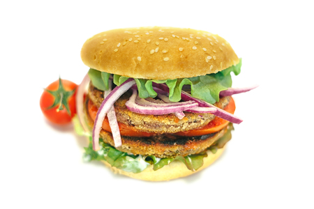 vegetarian hamburger: vegetarian hamburger with lettuce, tomato, onion and bun in white background Stock Photo