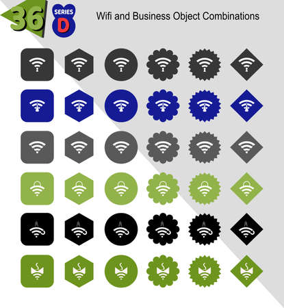 Combination of wifi symbols with various business objects. In the form of 6 kinds of geometric planes. Color variations according to industrial objects. Total 36 items