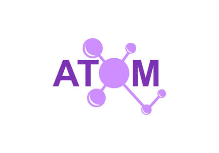 modern logo design for the atom logos. Atoms belong to the periodic system of atoms. There are ion pathways, ionic bonds.
