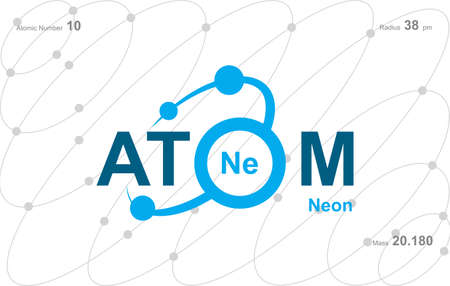 """modern logo design for the word """"Atom"""". Ions belong to the periodic system of atoms. There are ion pathways, ionic bonds Logó"""