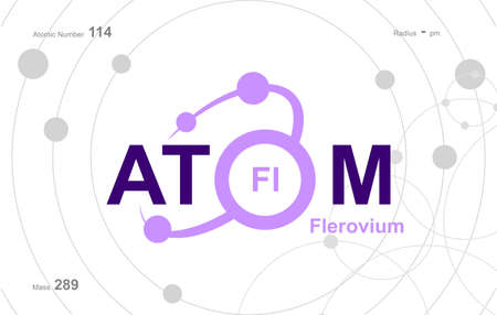 """modern design for the word """"Atom"""". Atoms belong to the periodic system of atoms. There are atom pathways Vektoros illusztráció"""
