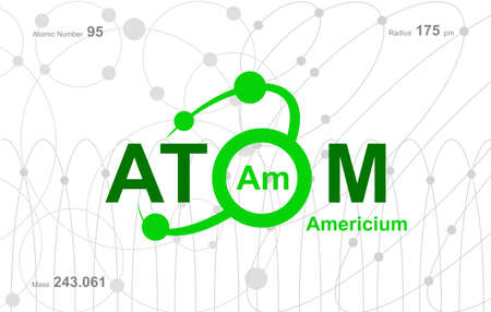 """modern design for the word """"Atom"""". Atoms belong to the periodic system of atoms. There are atom pathways"""