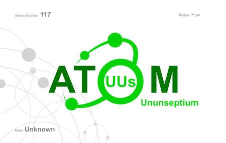 """modern design for the word """"Atom"""". Atoms belong to the periodic system of atoms. There are atom pathways Vektorgrafik"""