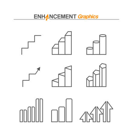 Vector diagram of growth with orange rising arrow. Vector icon isolated on a white background. Successful business symbol Illustration