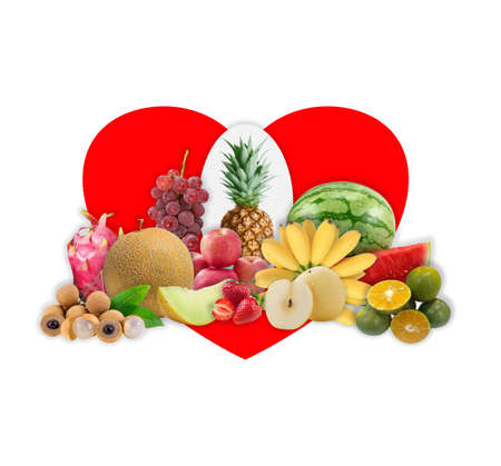 Images are a collection of fruits. Love symbol background