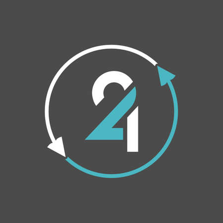 vector is a monogram of the numbers two and four. The circle with the opposite arrow shows the 24 hours of the day and night. Illustration