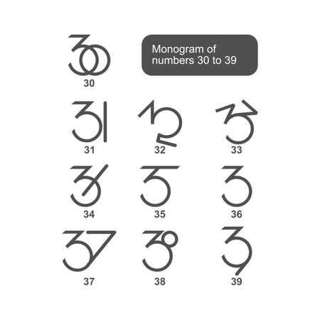 Vector is a monogram of the numbers 30 to 39 Illustration